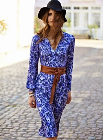 Wearing a Print Dress with Obi Belt and Floppy Hat