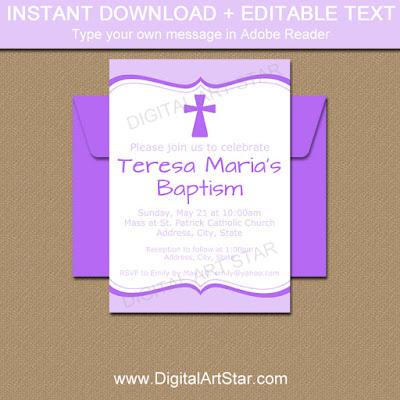 printable girl baptism invites in lavender