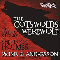 The Cotswolds Werewolf and Other Stories of Sherlock Holmes audiobook cover. A silhouetted wolf howls on a red background.