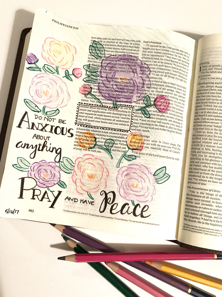 Philippians 4:6-7 | Bible Journaling - A Simpler Grace #illustratedfaith #biblejournaling #shereadstruth