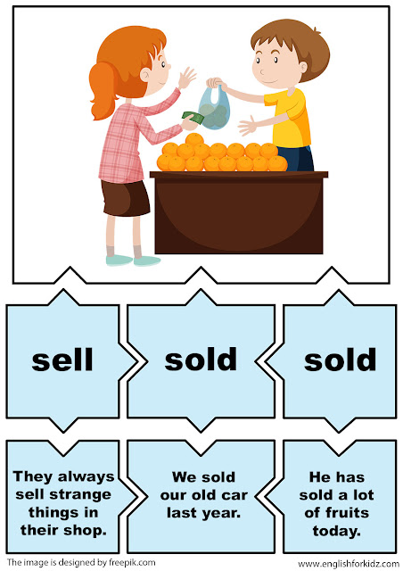 esl irregular verbs puzzle flashcards, verb sell