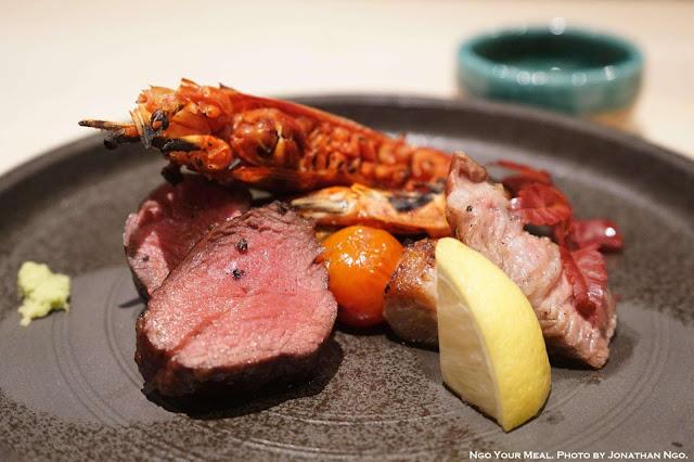 Washu Beef, Mangalitsa Pork Shoulder, Carabineros Prawn at Shuraku in New York City