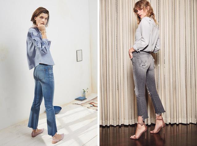 Девушки в укороченных джинсах клеш и джинсовых рубашках