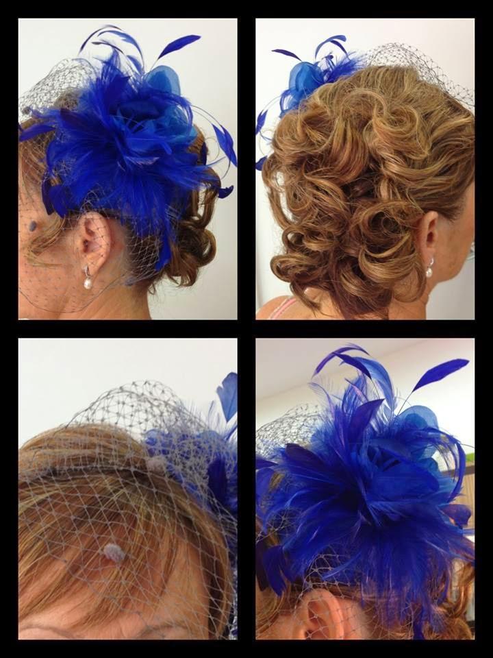 Estilo Y Belleza Peinado Con Tocado Azul - Tocados-para-semirecogidos