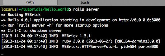 Rails server starting