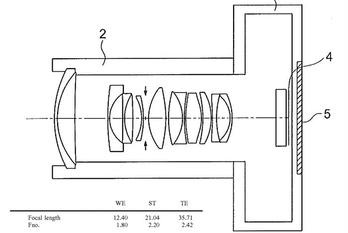 Схема из патента на объектив Olympus 12-35mm f/1.8-2.4