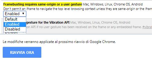 Chrome flags attivare esperimento per bloccare reindirizzamenti a pagine web indesiderate