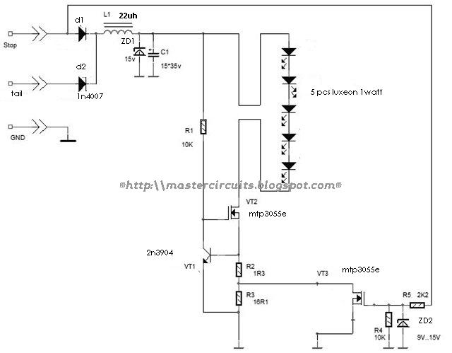 led brake light circuit mastercircuitsblogspotcom 2012 05
