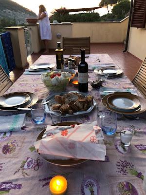 A dinner at rental in Nisporto.