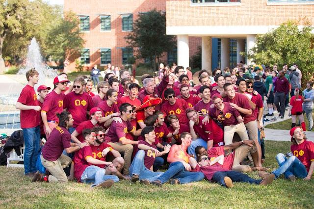 Bid day at Trinity University with fraternity