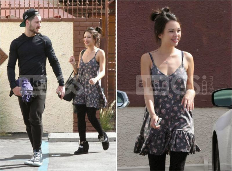 Janel Parrish wearing her Lulu*s Let it Flow Grey Floral Dress