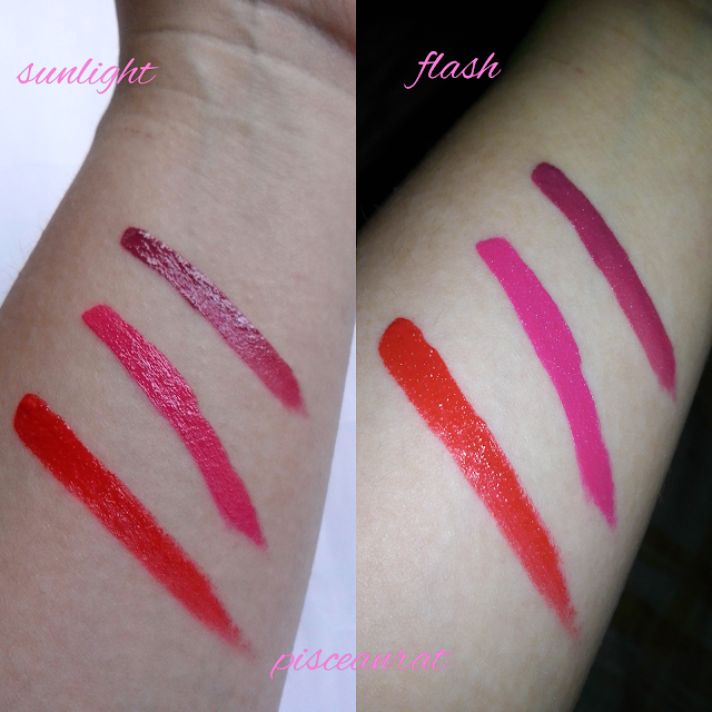 Revlon Ultra HD Matte Lipcolor swatches under sunlight, and with camera flash