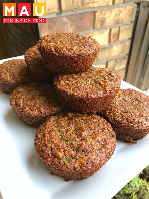 muffins panque integral con nuez manzana canela calabacita coco zanahoria mau cocina de todo receta
