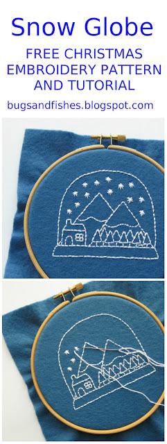 free snowglobe embroidery pattern