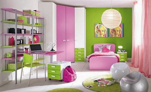 Cuartos para ni as en verde y rosa dormitorios colores y for Combinacion de colores para habitacion