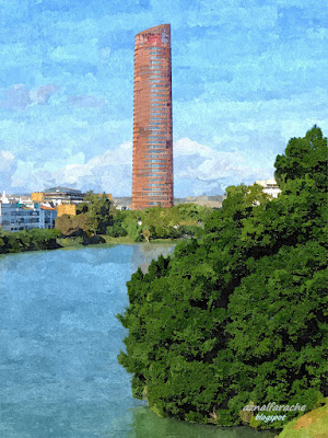Sevilla - Vista del Guadalquivir y Torre Sevilla