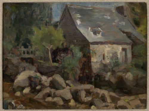 Paisagem Rústica com Ponte e Casas, pintura de Almeida Júnior.