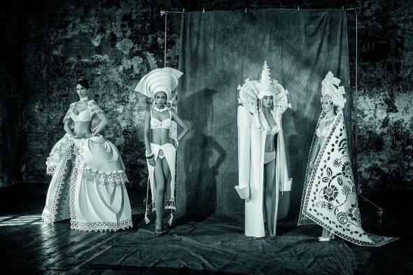Asya Kozina Dmitriy Kozin esculturas de papel roupas figurinos trajes culturas exóticas fashion