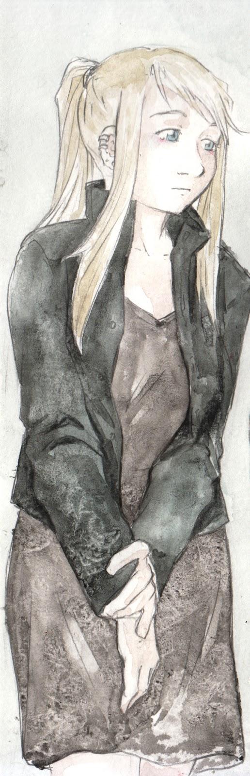 Winry aux funérailles - fanart FMA - bras de fer, gant de velours