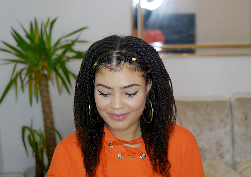 Mini twist hair styles on natural 4a/4b hair- hair down with gold cuffs