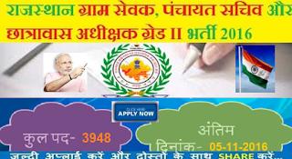 RSMSSB Gram Sevak Recruitment 2016 Panchayat Sachiv 3948 Posts