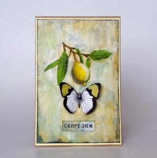 carpe diem, kartka, handmade card, cytryna, lemon