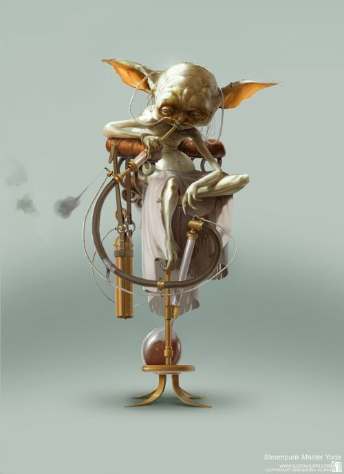 Bjorn Hurri ilustrações fantasia Star Wars steampunk Yoda