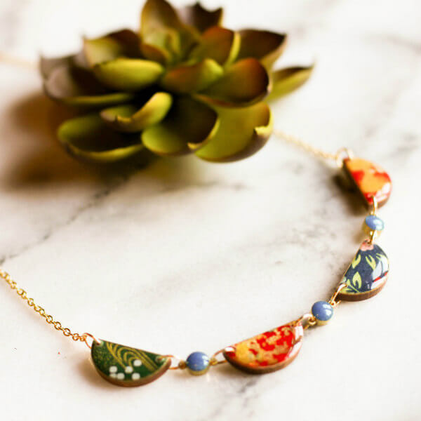 japanese paper necklace on gold chain with succulent