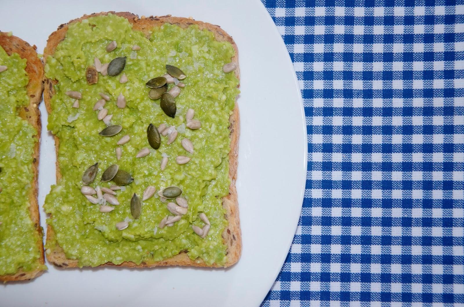 Garlicky Edamame & Peas on Toast