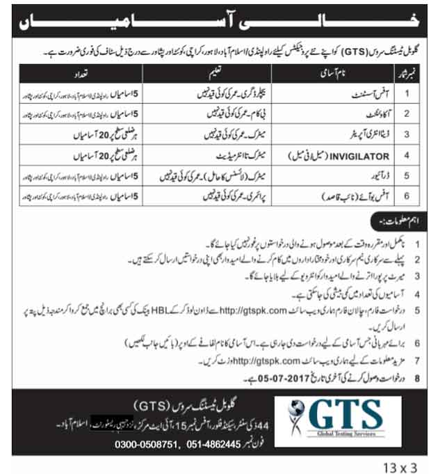 Jobs in Global Testing Service (GTS) Las date  of Applications 05-07-2017