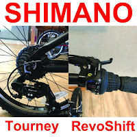 7-speed Shimano Tourney rear derailleur & Shimano Revo 7-speed grip shifters on EuroMini ZiZZO Via & Campo folding bikes