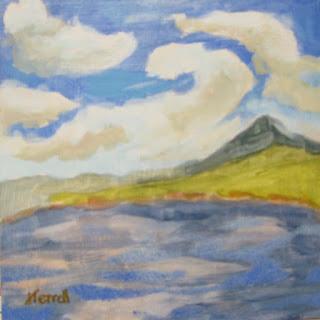 "Joan Terrell art, small paintings, Georgia artists, 6""x6"", 6x6"