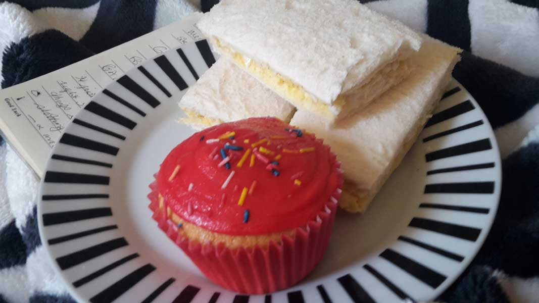 Cupcakes and sandwiches for lunch! Spoilt!
