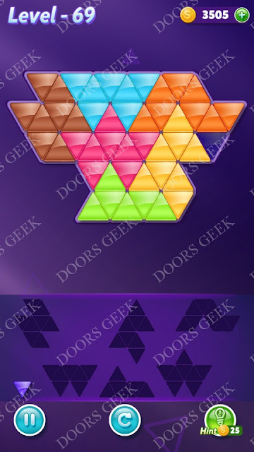 Block! Triangle Puzzle Advanced Level 69 Solution, Cheats, Walkthrough for Android, iPhone, iPad and iPod