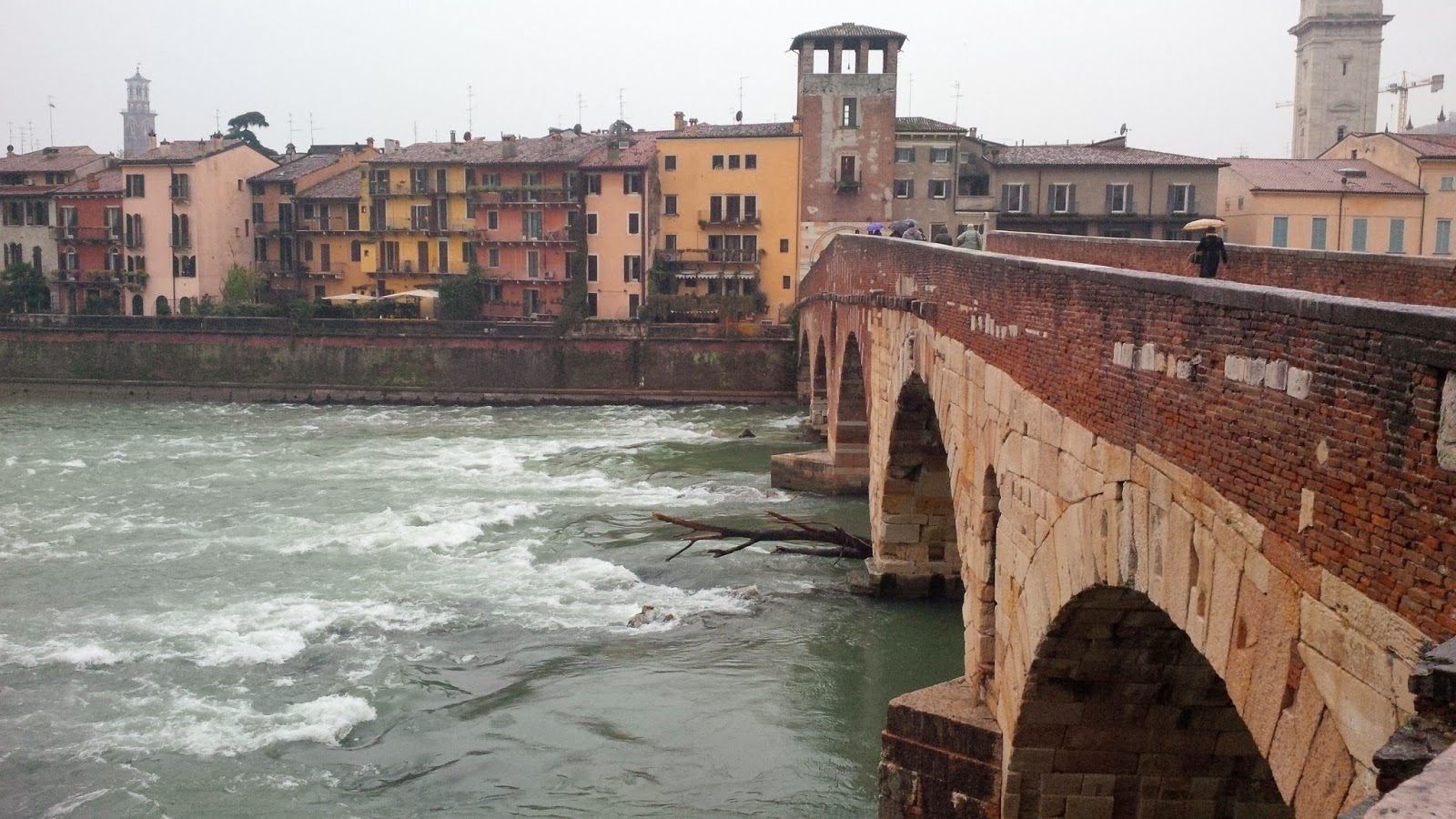 The oldest bridge in Verona - Ponte Pietra - completed by the Romans in 100 BC
