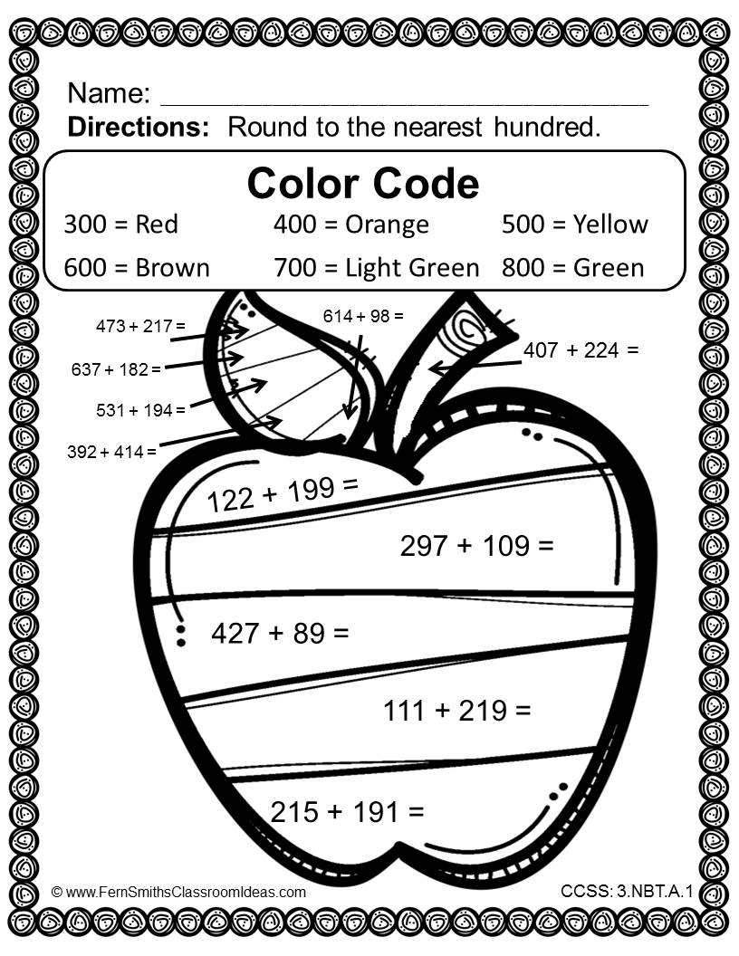 Fern SMith's Rounding to Estimate Sums - Color Your Answers Printables 3.NBT.A.1 for Go Math, Third Grade, Chapter One