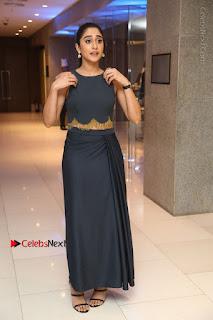 Actress Regina Candra Stills in Beautiful Blue Long Dress at Nagaram Success Meet  0174.JPG