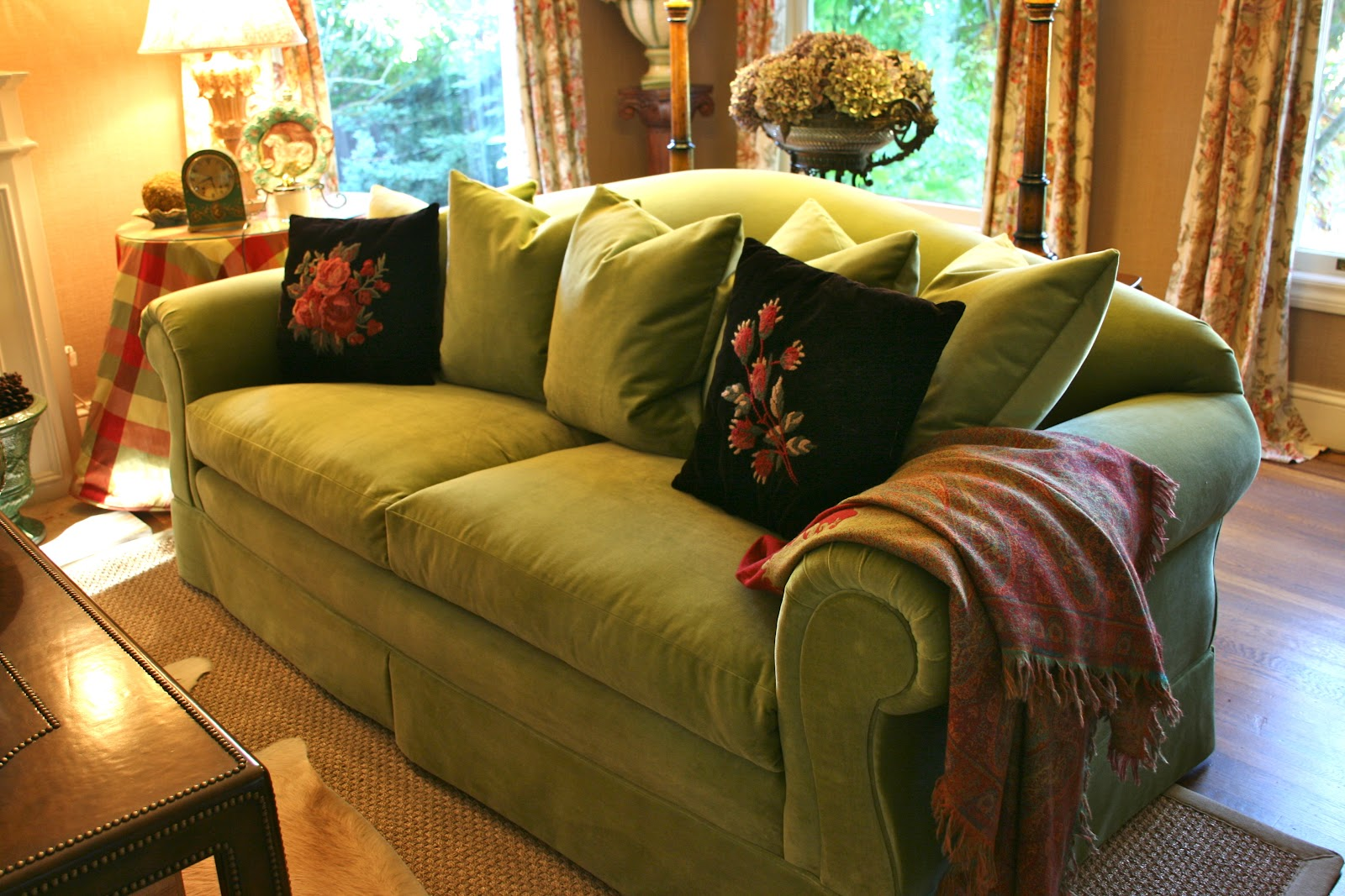 Sofa Bed Green Velvet Roll Back Vignette Design She Wore