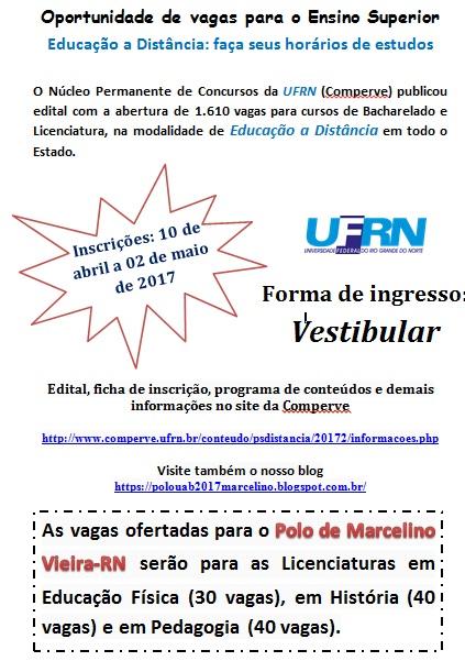 Inscrições abertas para o vestibular do Polo Universitário de Marcelino Vieira