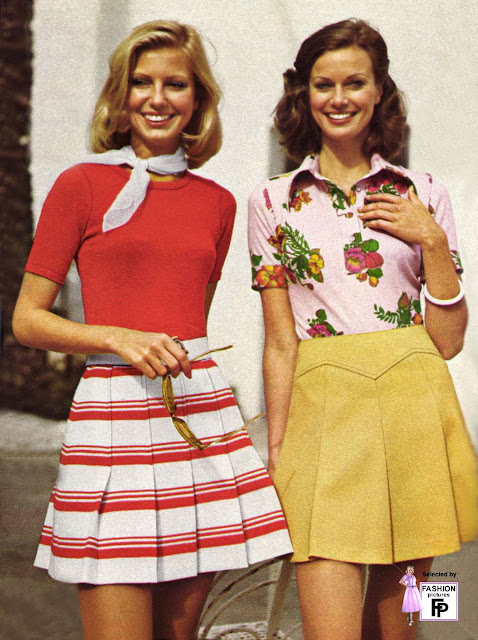 Fashion 1940s Two Female Models Flirty 40s Style Evening: Colorful Women's Street Fashions In The Early 1970s