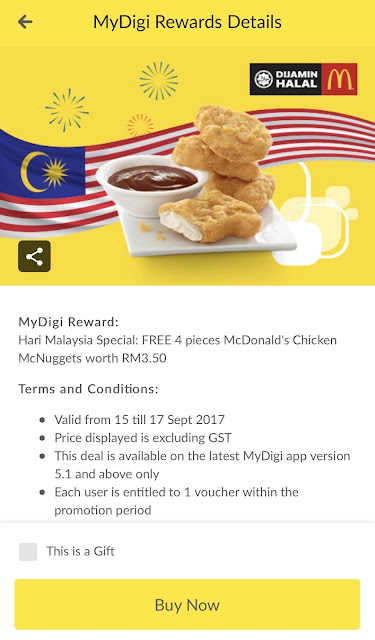 My Digi App Reward Free McDonald's Chicken Nuggets