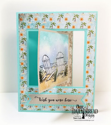 Our Daily Bread Designs Stamp set: Come To Me, Custom Dies: Lever Card, Lever Card Layers, Pennant Flags, Double Stitched Pennant Flags, Paper Collection: By The Shore