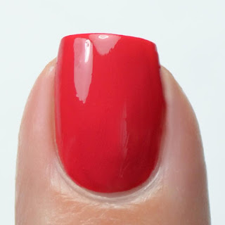 bright red creme nail polish swatch