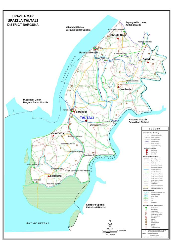 Taltali Upazila Map Barguna District Bangladesh