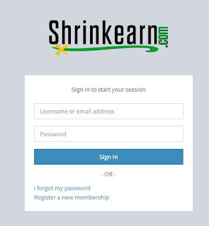 Shrinkearn sign up page