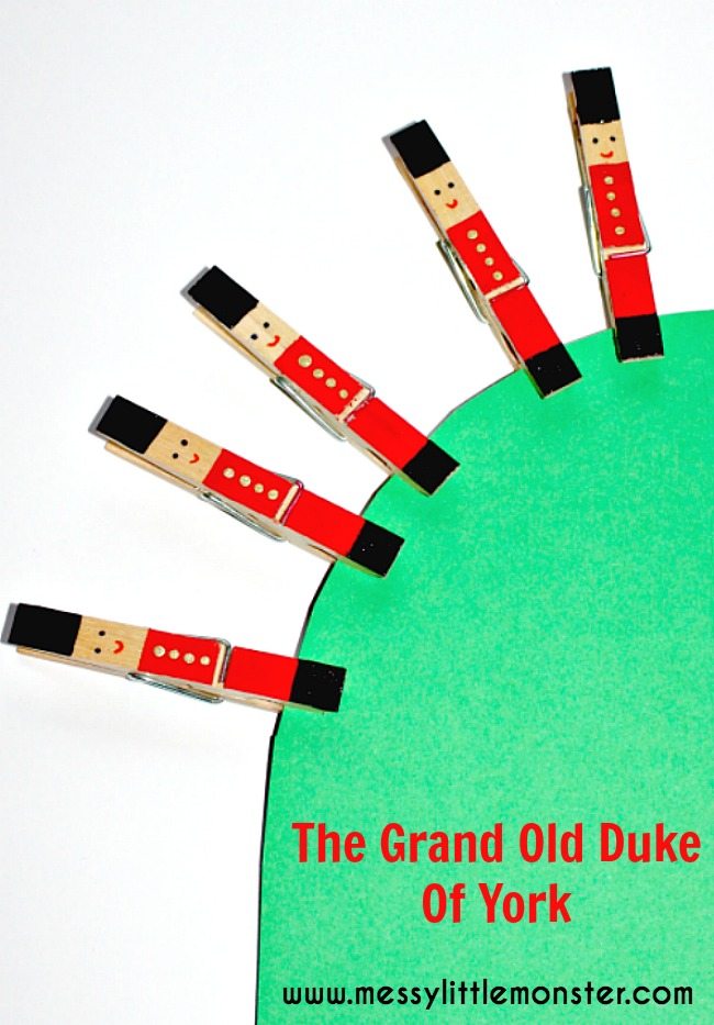 The Grand Old Duke of York soldier peg craft (nursery rhyme for preschoolers,  toddlers eyfs fine motor skills)