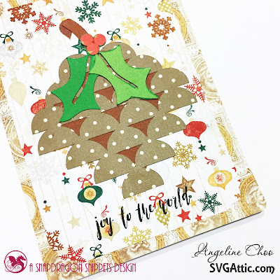 SVG Attic: Christmas Pinecone and Holly cards with Angeline #svgattic #scrappyscrappy #unitystamp #card #cardmaking #papercraft #svg #cutfile #christmas #holiday