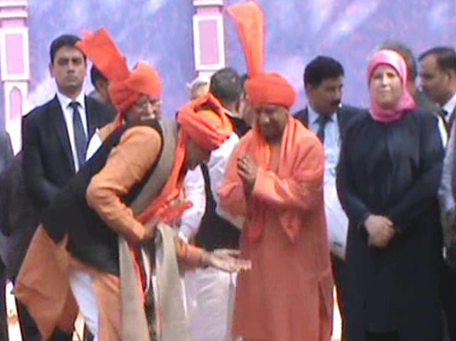 Uttar Pradesh's Chief Minister Yogi Aditya Nath's feet touched the minister and MLAs blessed