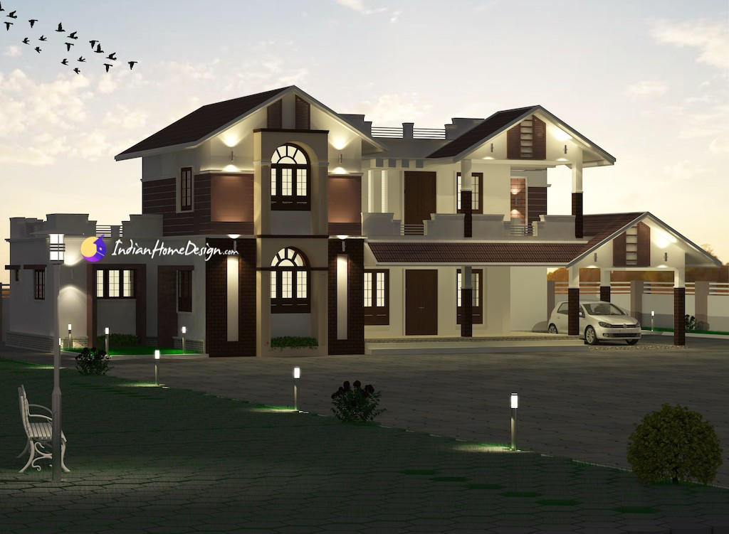 3667 sqft 4 Bedroom Luxury Kerala Bungalow Design by Triple Home Designers