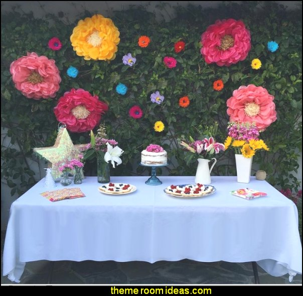 Paper Flower Decorations  flower garden tea party themed decorations - Floral Fiesta garden party decor -  Victorian garden party - backyard tea party -  Vintage tea party decorations - birthday tea party -  Spring garden Party - Victorian High Tea style  entertaining - Tea party decorations